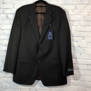 NWT Men's CHAPS Brown Pinstripe Classic Blazer 44L
